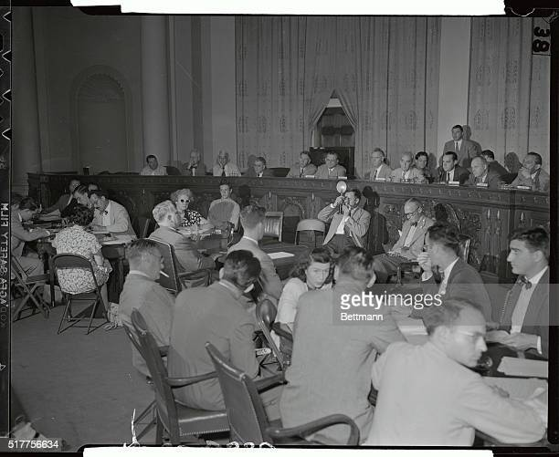 General view of the House UnAmerican Activities Committee Hearing is seen here as Whittaker Chambers Editor of Time Magazine and a former Communist...