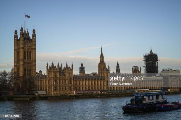 General view of the Houses of Parliament on December 11 2019 in London England Tomorrow Thursday December 12 voters in Britain go to the polls in...