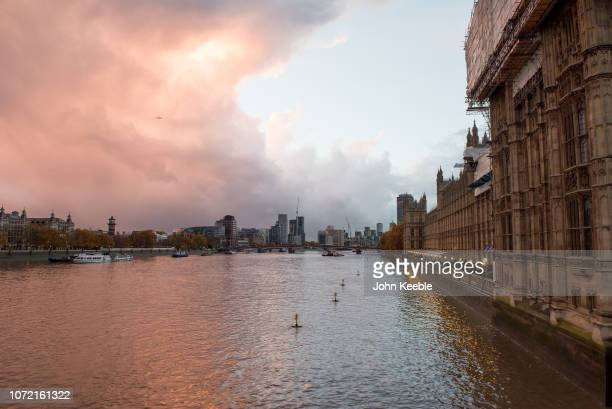 A general view of the Houses of Parliament over looking the river Thames looking towards Lambeth bridge early morning at sunrise on November 11 2018...