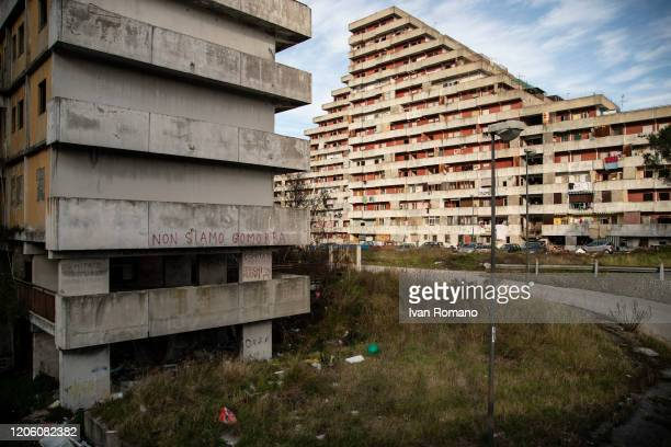 General view of the housing complex of the Vele of Scampia on February 12 2020 in Naples Italy The Municipality of Naples has announced that starting...