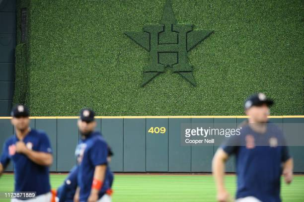 A general view of the Houston Astros logo in the batter's eye during batting practice prior to Game 2 of the ALDS between the Tampa Bay Rays and the...