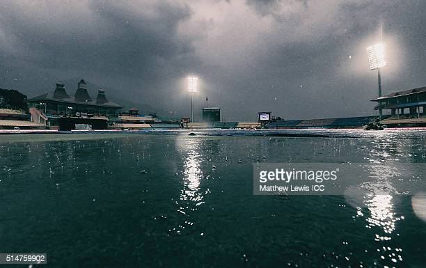 A general view of the HPCA Stadium as rain delays the start of the first match during the ICC World Twenty20 India 2016 match between Netherlands and...