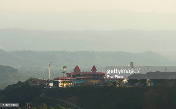 A general view of the HPCA Stadium during an Australian nets session ahead of the ICC 2016 Twenty20 World Cup on March 16 2016 in Dharamsala India