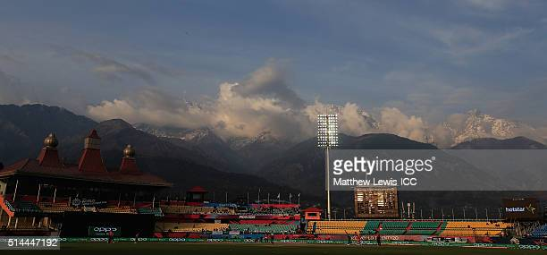 A general view of the HPCA Stadium during the ICC Twenty20 World Cup match between Bangladesh and Netherlands at HPCA Stadium on March 9 2016 in...
