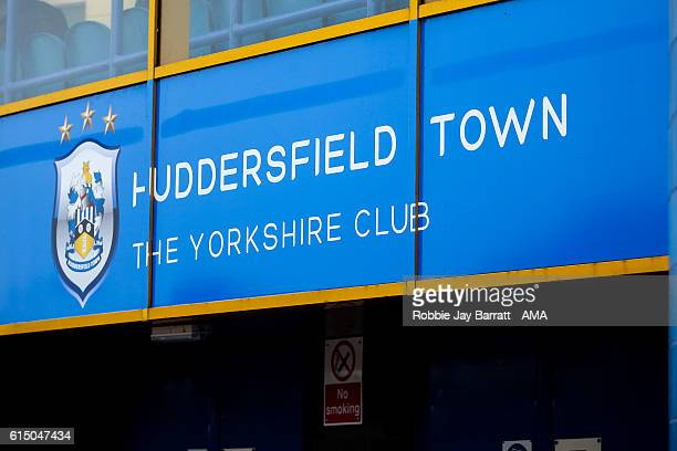General view of the Huddersfield Town sign the Sky Bet Championship match between Huddersfield Town and Sheffield Wednesday at John Smith's Stadium...
