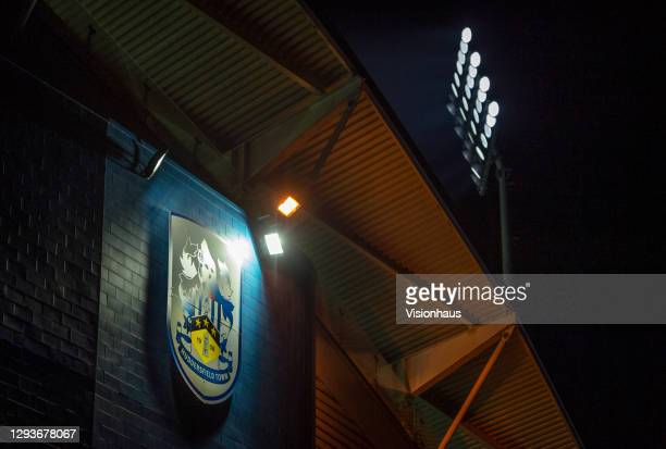 General view of the Huddersfield United club crest on the front of the John Smith's Stadium during the Sky Bet Championship match between...