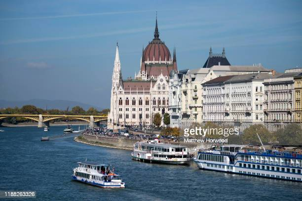 A general view of the Hungarian Parliament building and River Danube on October 18 2019 in Budapest Hungary