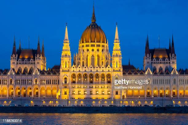 A general view of the Hungarian Parliament building on the River Danube at night on October 17 2019 in Budapest Hungary