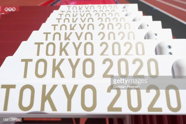 General view of the hurdles inside the Olympic Stadium, host to the Athletics competition, at the Tokyo Olympic Games on July 29, 2021 in Tokyo,...