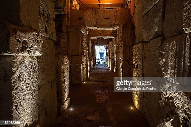General view of the hypogeum inside the Colosseum on November 7 2013 in Rome Italy The Colosseum's hypogeum has been opened to the public again after...