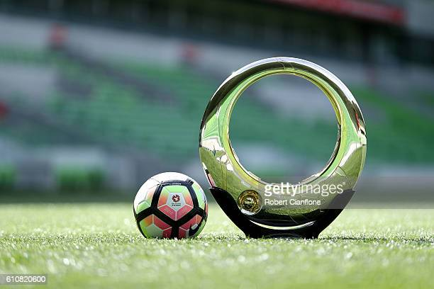 General view of the Hyundai A-League Championship trophy during the 206/17 A-League media day at AAMI Park on September 28, 2016 in Melbourne,...