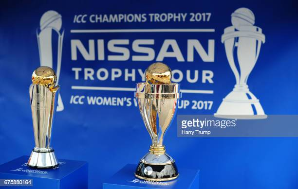 A general view of the ICC Champions Trophy and Women's World Cup Trophy ahead of the Royal London OneDay Cup match between Somerset and Kent at The...
