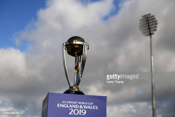 General view of the ICC Cricket World Cup Trophy during the ICC Cricket World Cup 'Wickets' Campaign Arrives in Taunton at The County Ground on March...