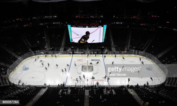 A general view of the ice as the Colorado Avalanche and Vegas Golden Knights warm up before a preseason game at TMobile Arena on September 28 2017 in...
