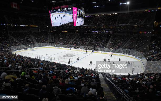 A general view of the ice as the Colorado Avalanche take on the Vegas Golden Knights during a preseason game at TMobile Arena on September 28 2017 in...