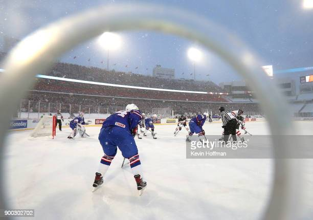A general view of the ice at the game between the United States and Canada during the IIHF World Junior Championship at New Era Field on December 29...