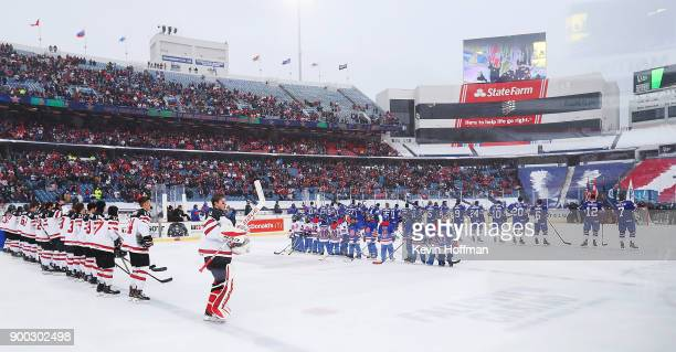 A general view of the ice before the game between the United States and Canada at the IIHF World Junior Championship at New Era Field on December 29...