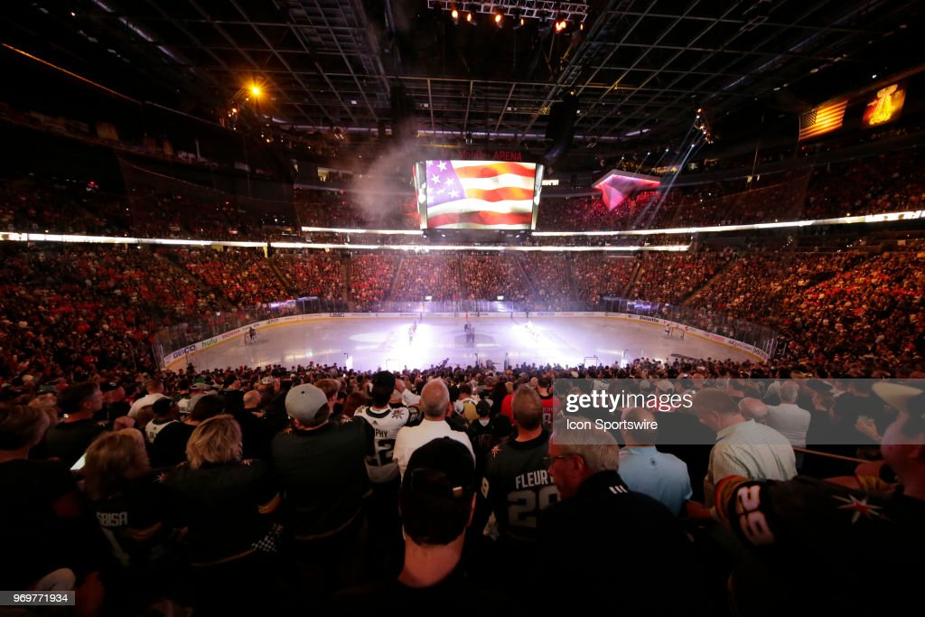 A general view of the ice inside T-Mobile Arena during the national anthem for Game Five of the Stanley Cup Final between the Vegas Golden Knights and the Washington Capitals during the 2018 NHL Stanley Cup Playoffs Thursday, June 7, 2018, in Las Vegas, Nevada.