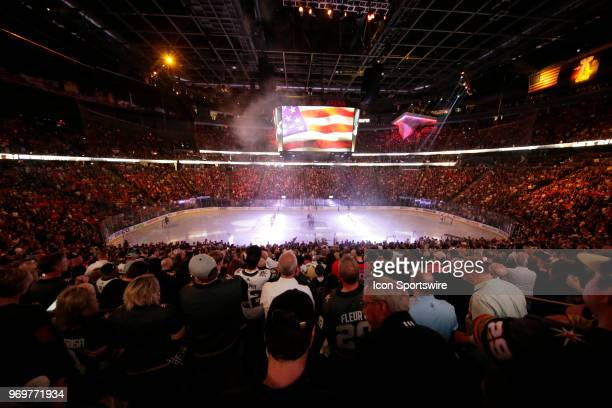 A general view of the ice inside TMobile Arena during the national anthem for Game Five of the Stanley Cup Final between the Vegas Golden Knights and...