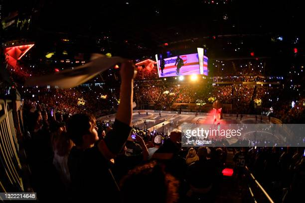 General view of the ice prior to Game Four of the Second Round of the 2021 Stanley Cup Playoffs between the Vegas Golden Knights and the Colorado...