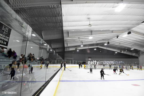 A general view of the ice rink is seen during the LA Kings Pickwick Ice Center Grand ReOpening at LA Kings Pickwick Ice Center on August 14 2019 in...