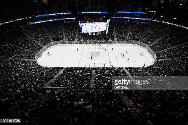 A general view of the ice shows the Vegas Golden Knights and the Los Angeles Kings during the game at TMobile Arena on February 27 2018 in Las Vegas...