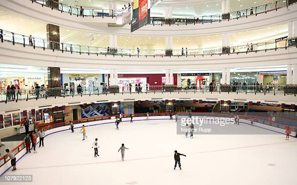General view of the ice skating circuit and lots of shops is taken at City Centre shopping mall on December 24 2010 in Doha Qatar The International...