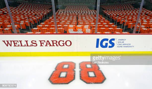 A general view of the ice surface and arena is shown prior to the Eric Lindros Jersey Retirement Night ceremony on January 18 2018 at the Wells Fargo...