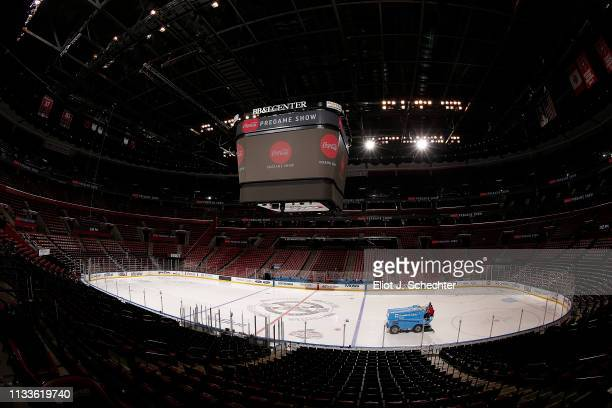 General view of the ice surface as the Zamboni Ice resurfacing machine makes the rounds prior to the Florida Panthers host the Ottawa Senators at the...