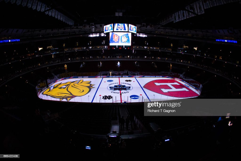 A general view of the ice surface before the Minnesota Duluth Bulldogs play the Harvard Crimson during game one of the 2017 NCAA Division I Men's Hockey Frozen Four Championship Semifinal at the United Center on April 6, 2017 in Chicago, Illinois.