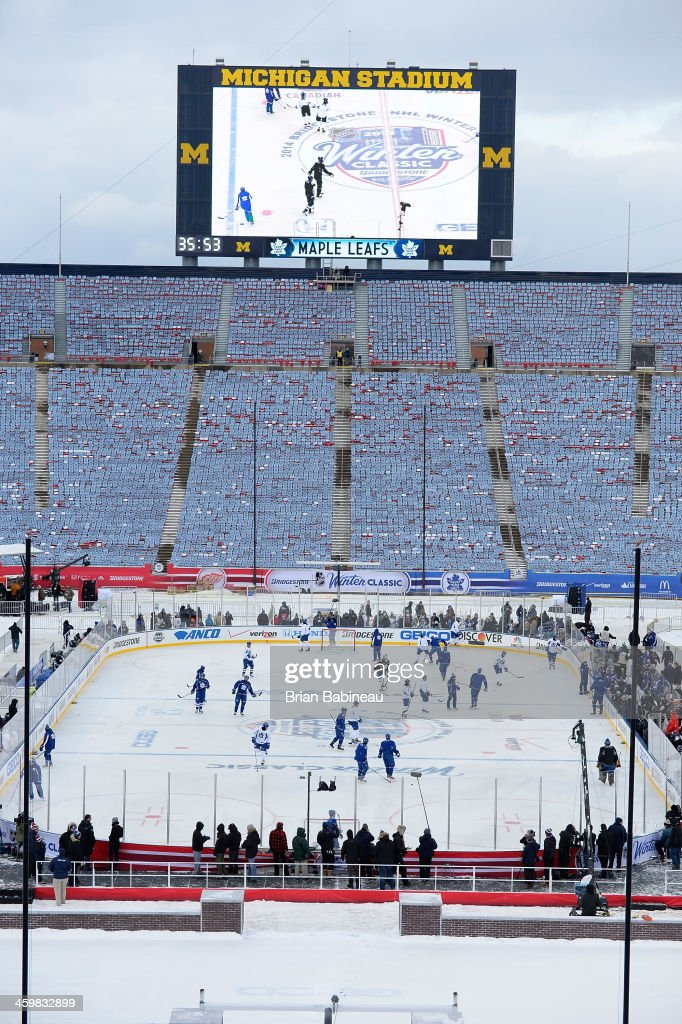 A general view of the ice surface from the upper seats during 2014 Bridgestone NHL Winter Classic team practice session on December 31, 2013 at Michigan Stadium in Ann Arbor, Michigan.
