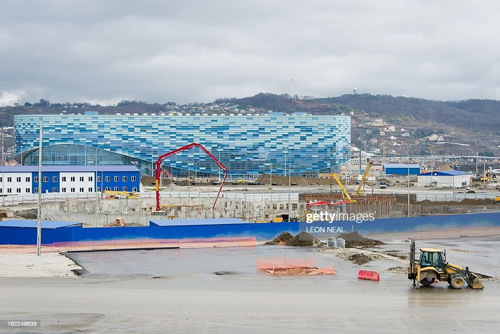 A general view of the Iceberg figure-skating and short-track venue arena in the Olympic Park in Adler, Russia on February 21, 2013. With a year to go until the Sochi 2014 Winter Games, construction work continues as tests events and World Championship competitions are underway.