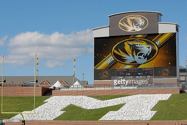 A general view of the iconic rock M and the scoreboard prior to NCAA football game between the Missouri Tigers and the Eastern Michigan Eagles on...