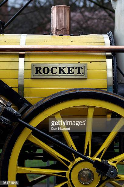 A general view of the iconic Stephenson's 'Rocket' steam locomotive in Kensington Gardens on March 31 2010 in London England The ride is one of the...