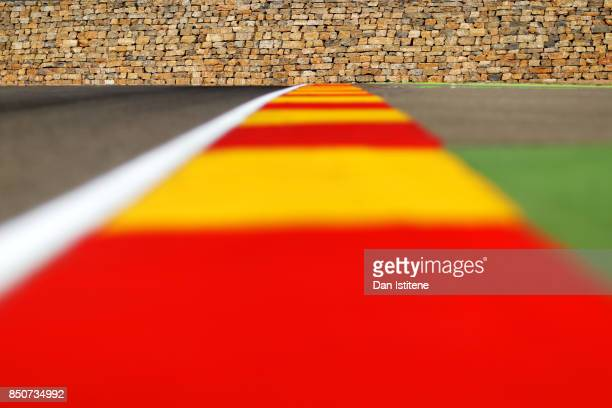 General view of the iconic stone wall at turn 13 during previews for the MotoGP of Aragon at Motorland Aragon Circuit on September 21, 2017 in...