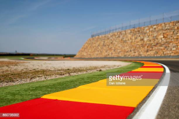 A general view of the iconic stone wall at turn 13 during previews for the MotoGP of Aragon at Motorland Aragon Circuit on September 21 2017 in...