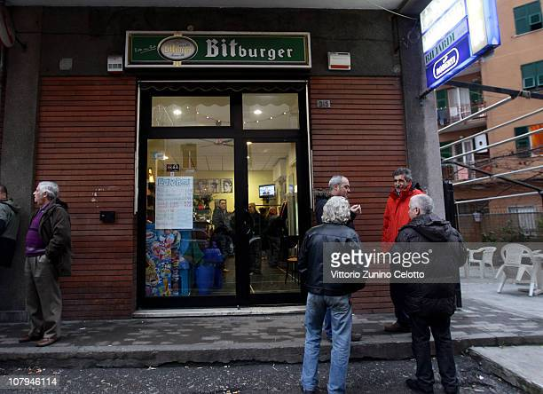 A general view of the 'Il gatto e la volpe' bar where Carlo Trabona killed two of his neighbours on January 9 2011 in Genoa Italy Carlo Trabona a...