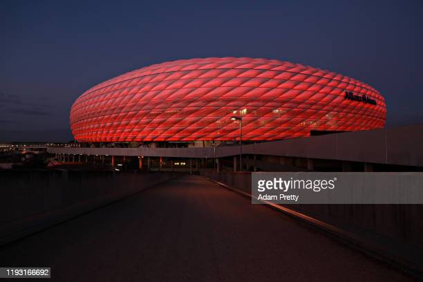 A general view of the illuminated Allianz Arena on December 10 2019 in Munich Germany