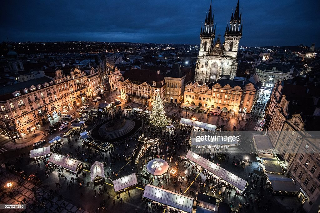 Prague's Christmas market is held in the Old Town Square.
