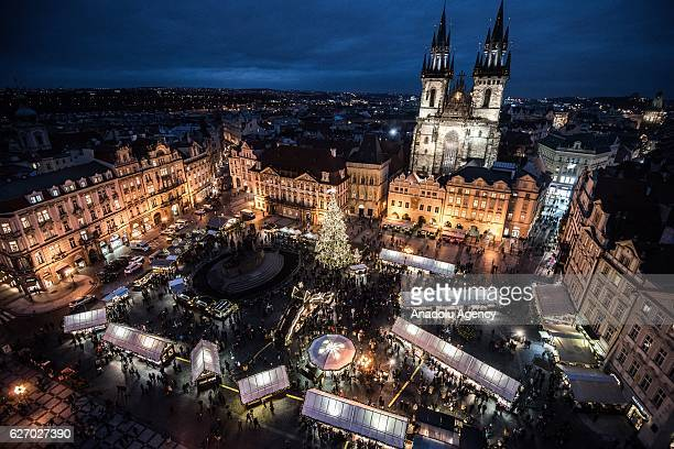 A general view of the illuminated Old Town Square at the Christmas market at Old Town Square in Prague Czech Republic on December 1 2016 Christmas...