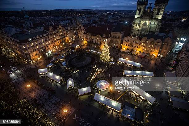 A general view of the illuminated Old Town Square with the Christmas tree at the Christmas market on November 28 2016 in Prague Czech Republic...
