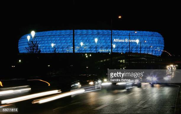 General view of the illuminated stadium after the friendly match between TSV 1860 Munich and Bayern Munich at the Allianz Arena on June 2 2005 in...