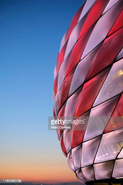 A general view of the illuminated stadium during the Audi cup 2019 final match between Tottenham Hotspur and Bayern Muenchen at Allianz Arena on July...