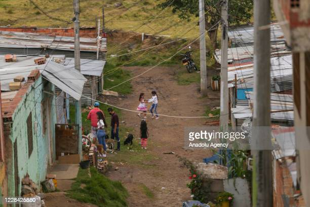 General view of the improvise settlement at the Paraiso neighborhood at the Ciudad Bolivar peripheries of Bogota, Colombia on September 08, 2020....