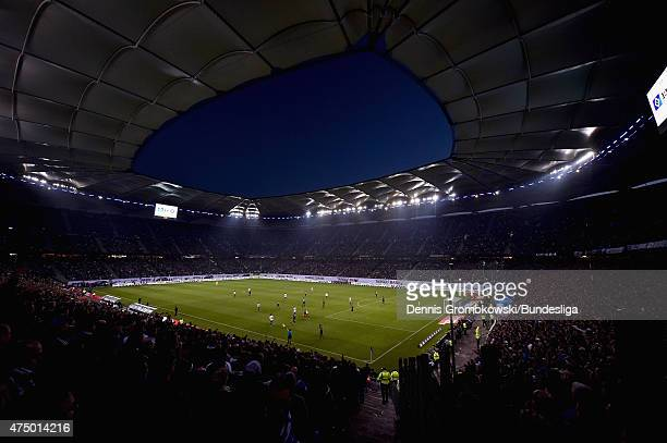 A general view of the Imtech Arena is pictured during the Bundesliga Playoff first leg match between Hamburger SV and Karlsruher SC at Imtech Arena...