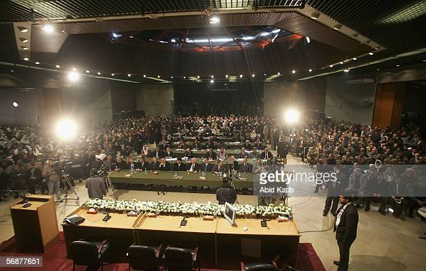 A general view of the inaugural parliament session on February 18 2006 in Gaza City Gaza Strip The inaugural session of the new Hamasdominated...