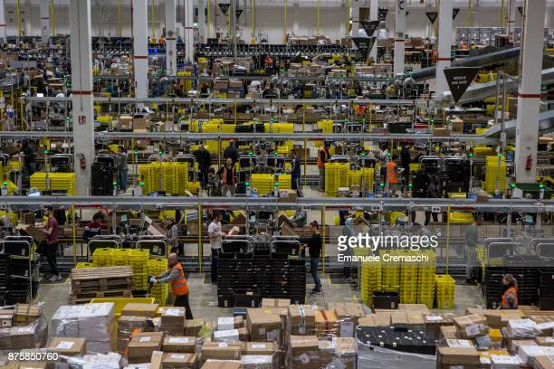 A general view of the inbound area of the Amazoncom MPX5 fulfillment center on November 17 2017 in Castel San Giovanni Italy Established in 2014 the...