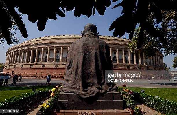 A general view of the Indian Parliament building during the opening of the budget session in New Delhi on February 23 2016 The session began with the...