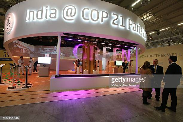 A general view of the Indian pavillon at COP21 on December 1 2015 in Paris FranceThe COP21 summit will see negotiators from 195 countries try to...