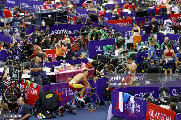 A general view of the infield at the arena as athletes warm up during the track cycling on Day five of the European Championships Glasgow 2018 at Sir...